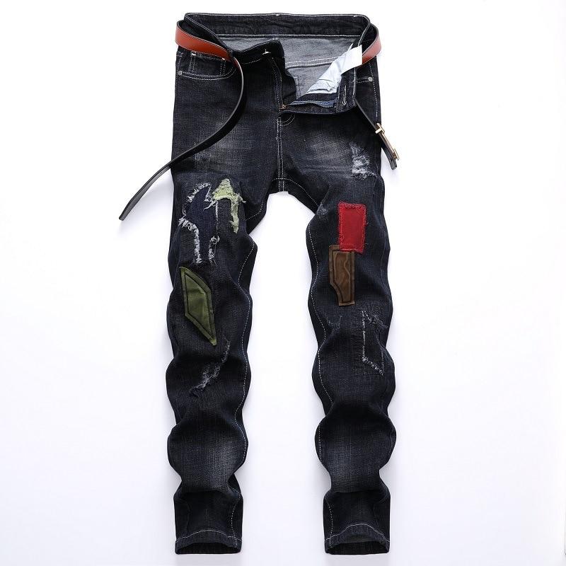 Los hombres pantalones Vaqueros de tipo motero marca pantalones Vaqueros rasgados Mens...