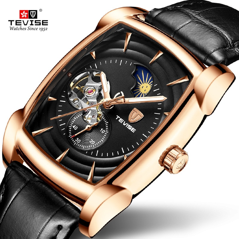 Relogio Masculino TEVISE Mens Watches Top Brand Luxury Automatic Mechanical Watch Men clock leather