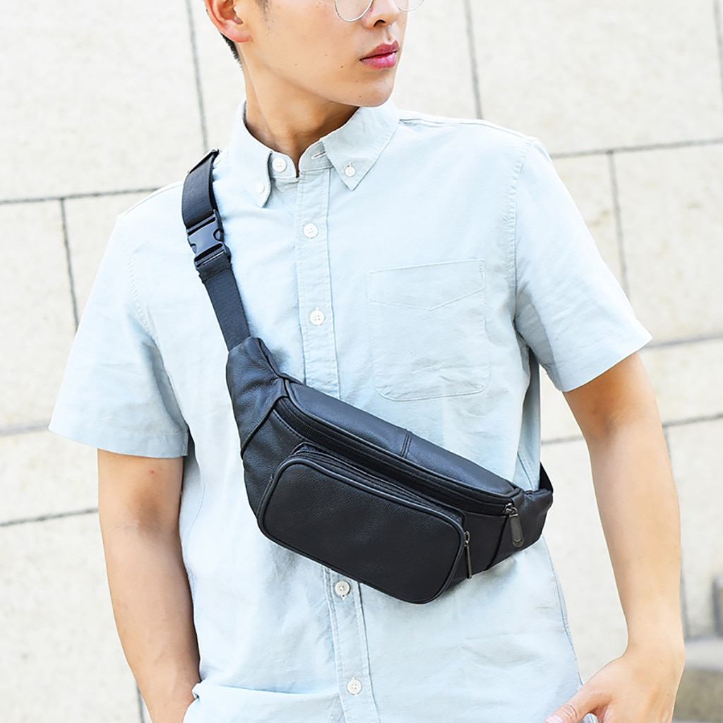 Man Bag Fashion Casual Sports Shoulder Solid Color Messenger Pocket bolsa cintura fanny packs 2019 marsupio uomo sac banane