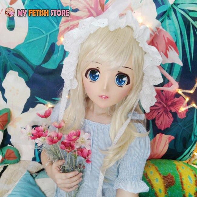 (Naranja-01) Máscara de dibujos animados Kigurumi de media cabeza de resina para mujer dulce chica Cosplay máscara de rol Anime japonés máscara de Lolita Crossdress máscara de muñeca