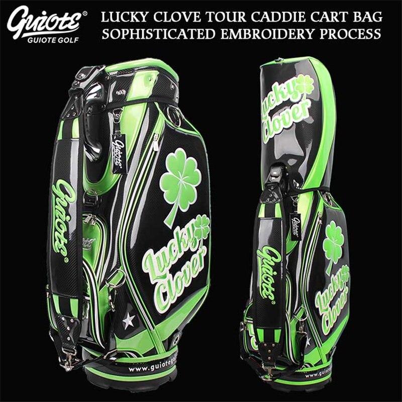 [2 colores] bolso de carrito de Golf de trébol de la suerte bolso de cuero de PU para el equipo de Golf con capucha de lluvia 5 -manera para hombres y mujeres