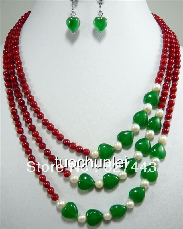 Freies großhandelsverschiffen>> Wunderbare 3 Rows Rote Koralle Weiße Perle Grüne Herz stein Halskette Ohrring