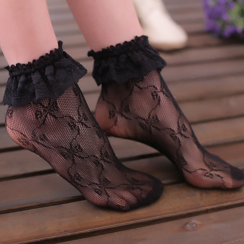 2019 Hot Women Lace Ruffle Hollow Out Floral Pleats Fishnet Hole Short Ankle Socks New arrival