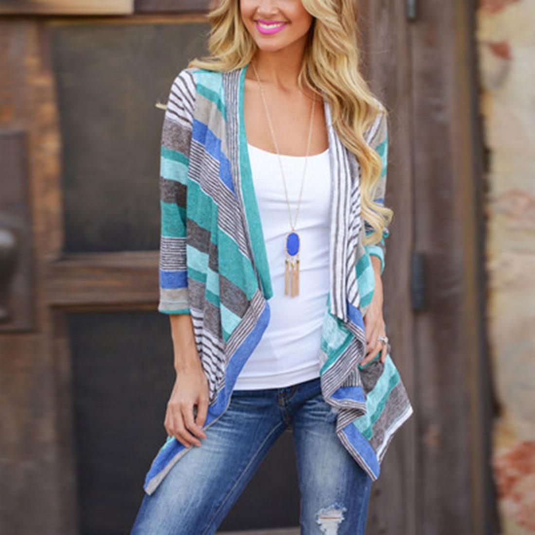 JIMMYHANK Women Fashion Boho Autumn Geometric Printed Irregular Long Sleeve Loose Knit Cardigans Coat