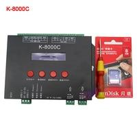 K-8000C programmable DMX/SPI SD card LED pixel controller;off-line;DC5-24V for RGB full color led pixel light strip