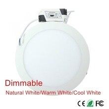 25W Ultra ince tasarım kısılabilir LED yüzey tavan gömme ızgara Downlight/yuvarlak panel lambası ücretsiz kargo 1 adet/grup