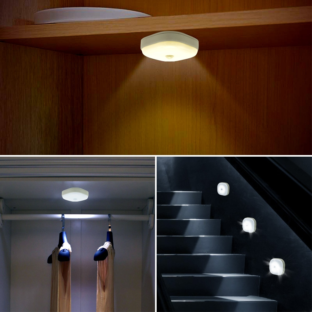 New 10 LEDs Motion Sensor Under Cabinet Lights  Magnetic Closet Light Sensor Stair Lamps for Kitchen Bedroom Night Lighting
