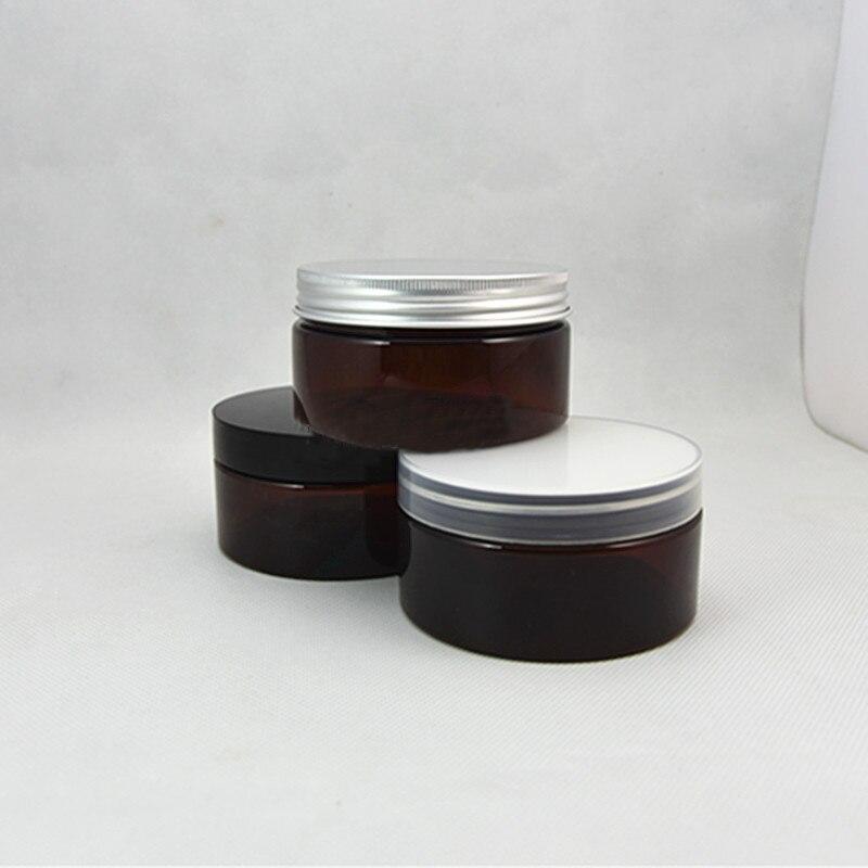 Envío Gratis, 10/30/50 unids/lote, tarro marrón PET de 200 ml, tapa de plástico blanco/transparente/negro.