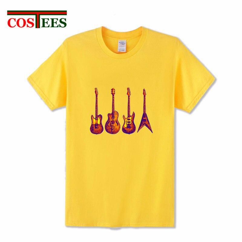 Nueva maravillosa de la mano-impresión a color seis cuarteto de cuerdas de guitarra T camisa de los hombres música maravillosa camiseta punk camiseta Hipster harajuku Tee