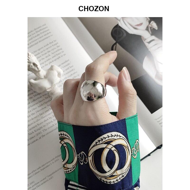925 prata esterlina rosto largo polido anel simples de alta qualidade brilhante prata temperamento índice dedo anel para mulher