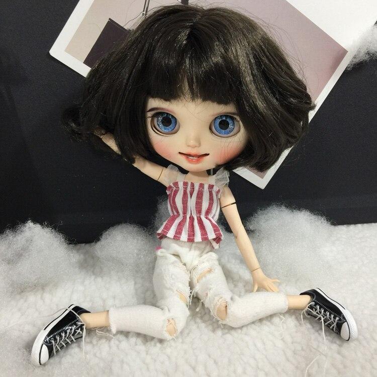 T02-X402 muñeca Blyth ropa 1/6 muñecas accesorios hecho a mano 30cm ropa rayas tops con pantalones blancos 2 unids/set