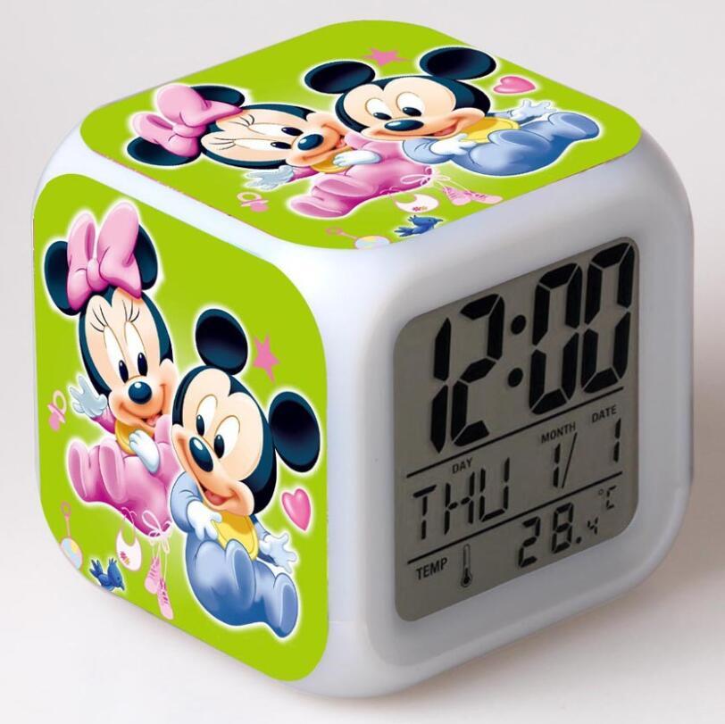 Mickey Minnie figuras de acción LED 7 cambio de colores luz táctil despertador de mesa reloj niños niñas juguetes #3830