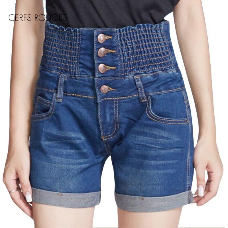 Pantalones cortos de algodón liso de talla grande de verano de 2018 para mujer, pantalones vaqueros para mujer, ropa para mujer, talla pequeña para niña, talla grande