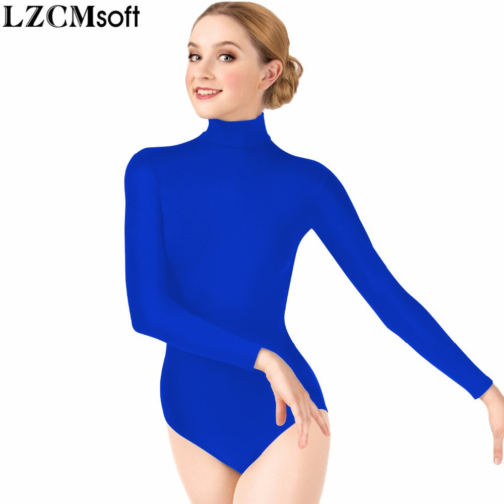 LZCMsoft mujeres Spandex Nylon Rosa Mallas de gimnasia una pieza body adulto de manga larga Ballet Dancewear Performance Costumes