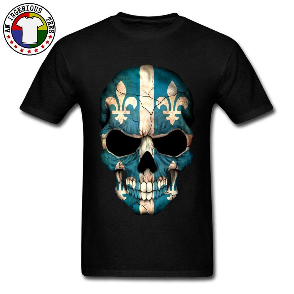 Camiseta de tamanho grande 2018 camisetas personalizadas 100% algodão pesado rock band tshirts legal t camisas canadá quebec bandeira crânio mapa