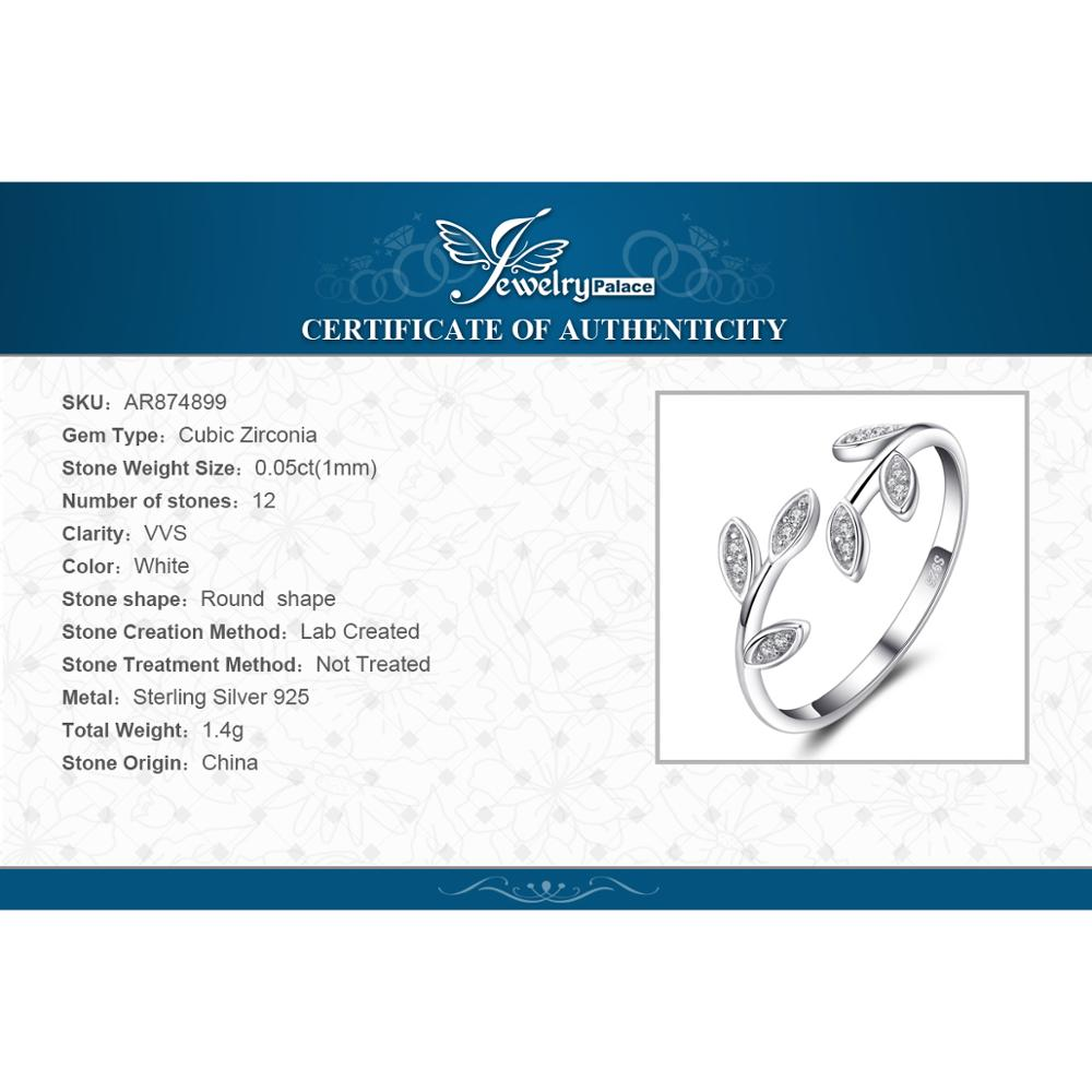 Купить с кэшбэком JewelryPalace Olive Leaf 925 Sterling Silver Ring Cubic Zirconia Open Adjustable Korean Cuff Finger Thumb Band Rings for Women