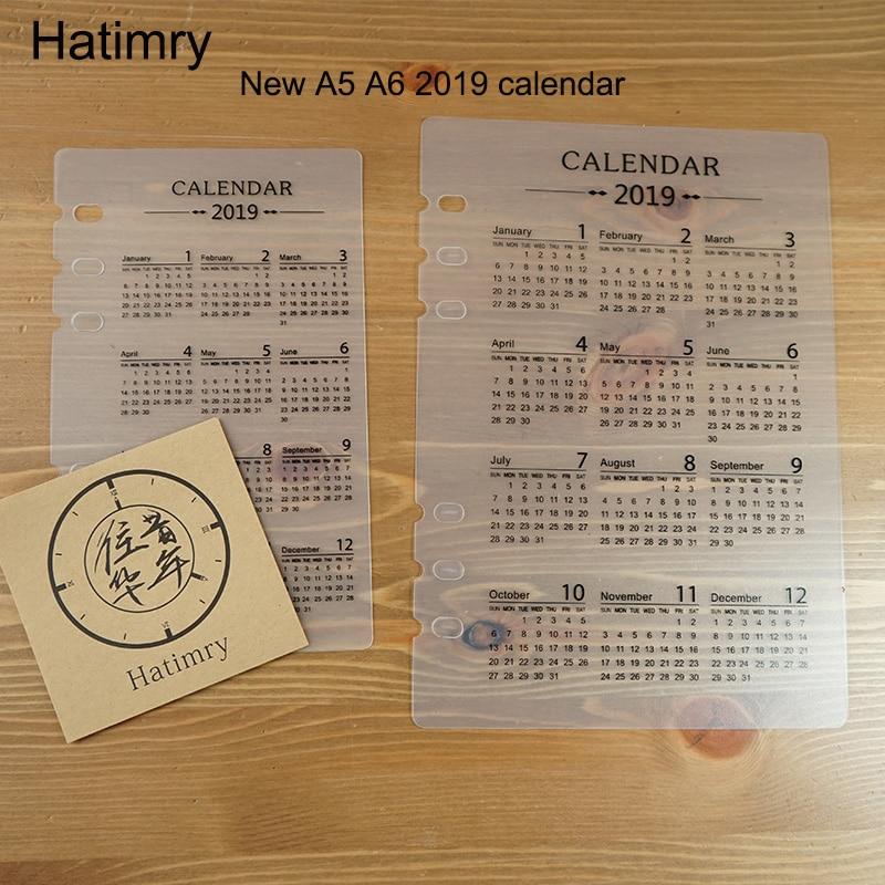 ¡Novedad de 2019! 1 Calendario de lámina para A5, A6, tamaño 6 agujeros de PVC re filler para notebook, cuaderno de primera página, cuaderno recargable
