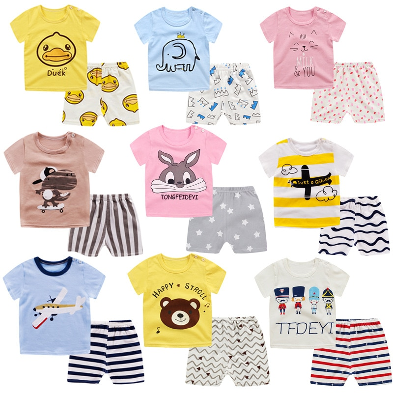 Primavera y otoño, pantalones de otoño para niños y niñas, conjunto de ropa interior de algodón para niños, cuello redondo de manga corta, servicio doméstico