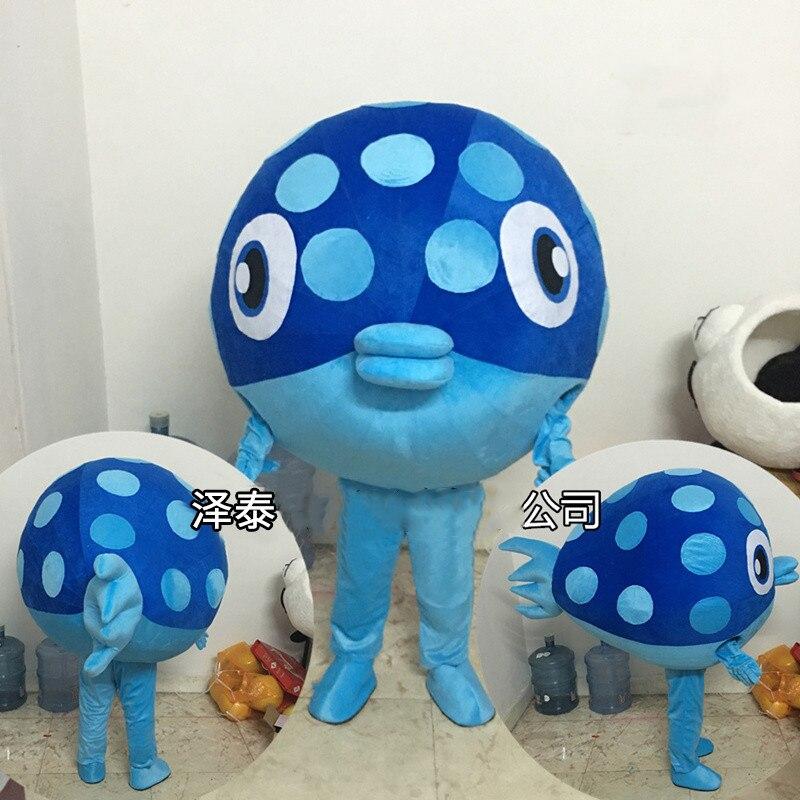 Usine Direct mode grand oeil intelligent bleu mer poisson déguisement mascotte Costume adulte personnage Cosplay Costume