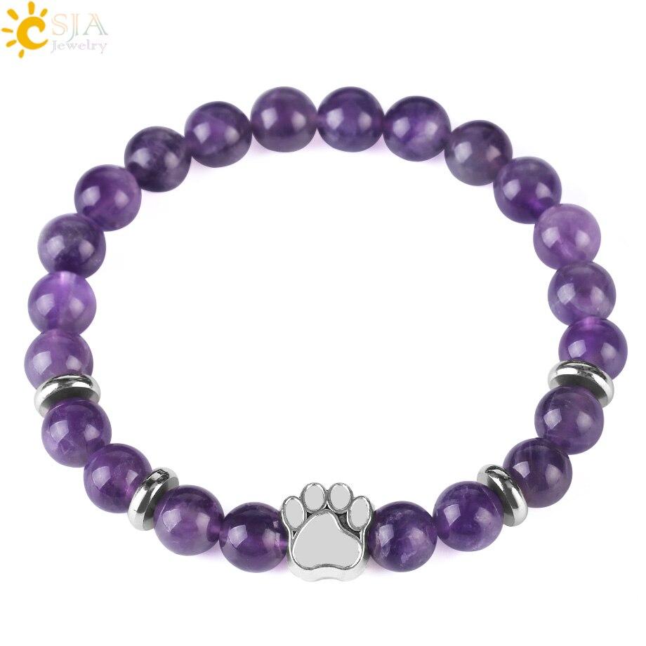 CSJA хит продаж, натуральный камень, медвежонок, браслет с лапой бусина мала, для йоги, фиолетового кристалла, лава, кварцевые эластичные веревки, женские и мужские браслеты F449