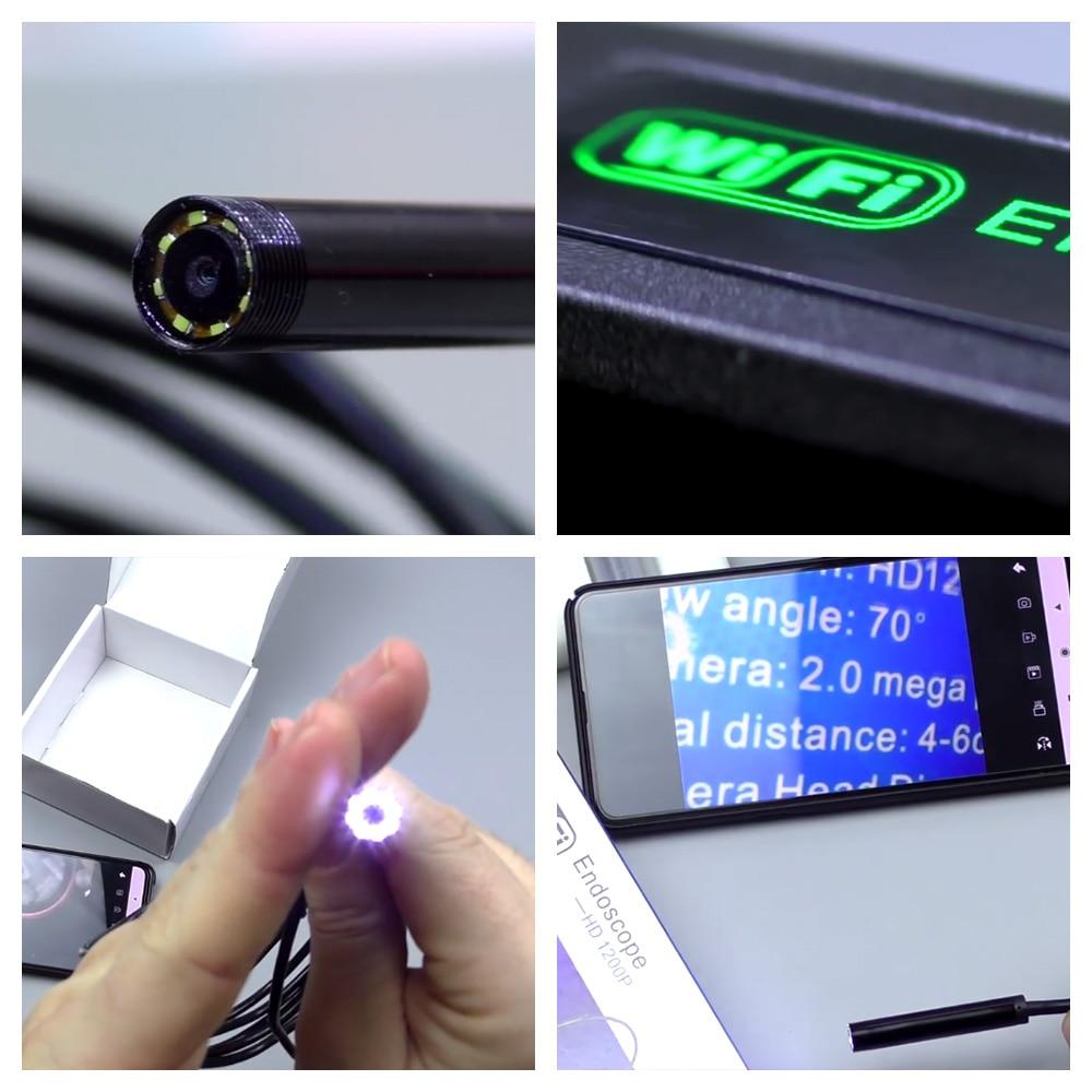 KERUI 720P 1200P WIFI Endoscope Camera 2MP Mini Waterproof Inspection Camera 8mm USB Borescope Endoscope For Cars Android IOS