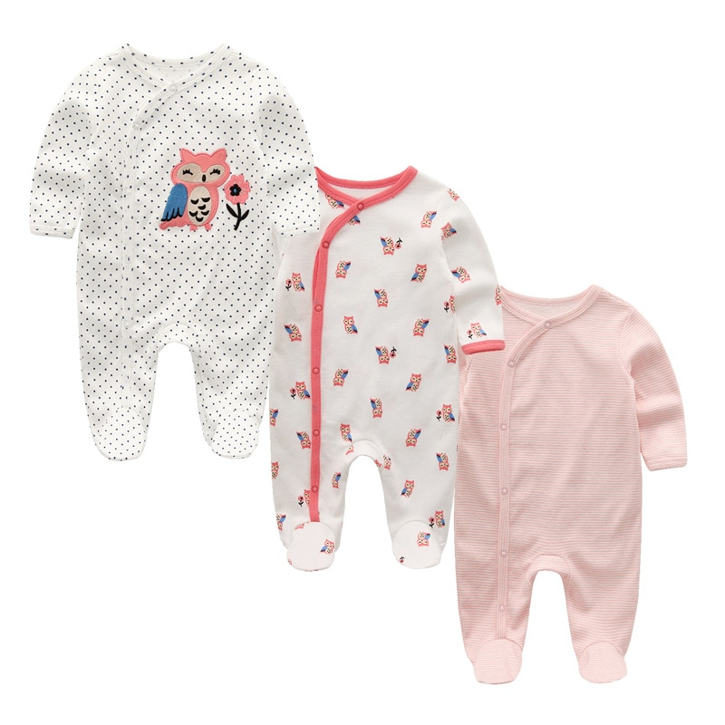 3pcs/lot cotton 0-12M Baby footed romper cartoon baby boys girls clothing overall baby pajamas baby warm outfit