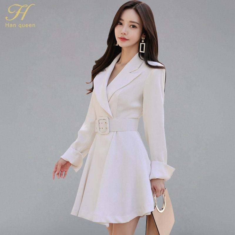 H Han Queen Notched Neck Sashes Waist A-line Mini Dress Women 2018 Autumn Solid White New Wear To Work Business Vestido De Festa