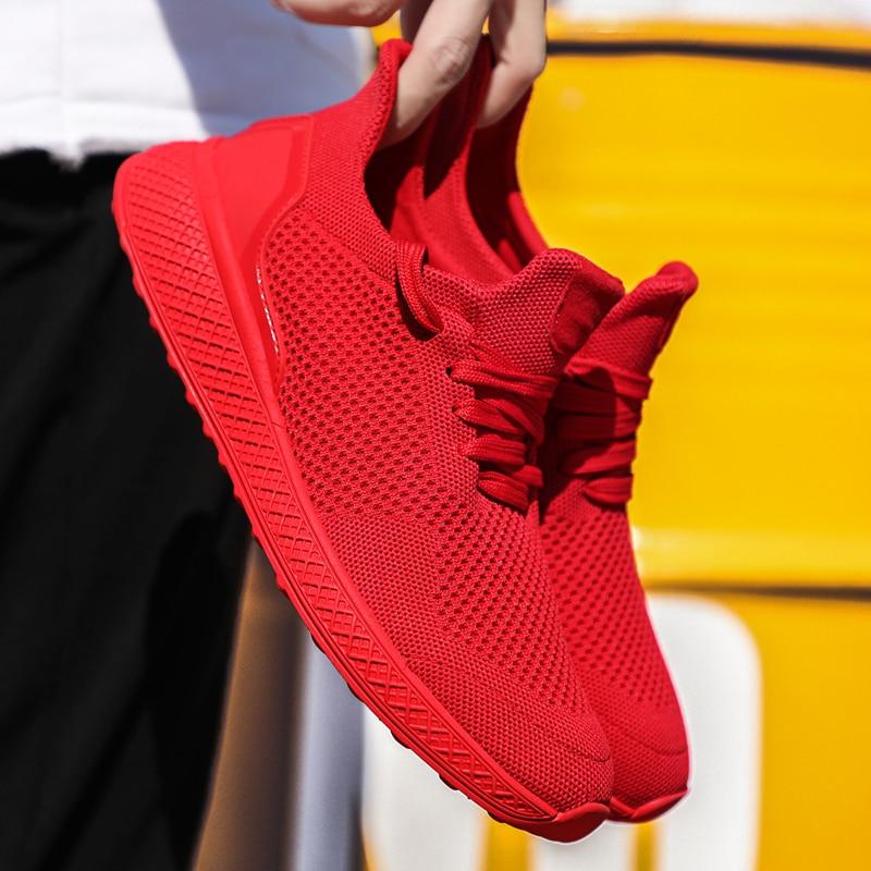 Zapatillas de deporte para hombre 2020 de malla de aire transpirable con cordones, zapatillas de hombre sólidas, gran oferta, zapatos para caminar informal al aire libre para hombres