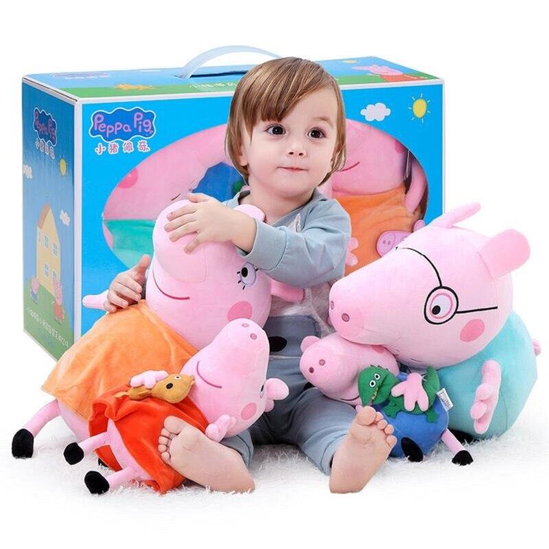 4 unids/set Peppa Pig George familia juguetes de peluche 19/30cm familia de cerdos rosados muñecas de fiesta para niñas regalos animales juguetes de peluche