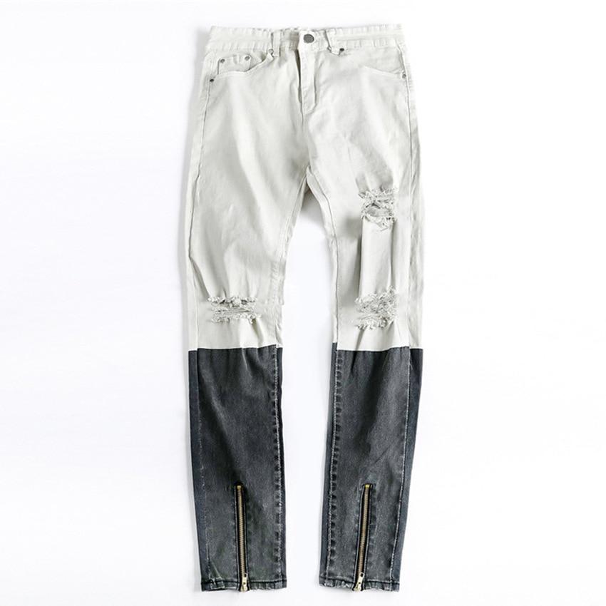 Casual Skinny Jeans Men 2019 New Brand Cotton Wash Zipper Jeans Mens Hip Hop Slim Fit Stretch Color Matching Pencil Jeans