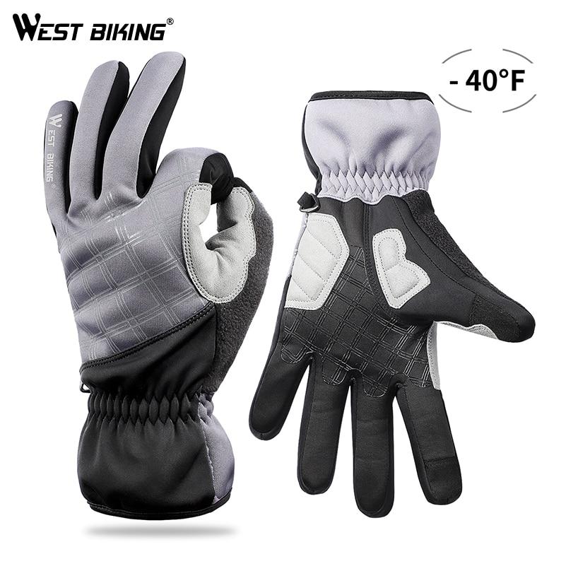 Guantes Térmicos invierno ciclismo WEST ciclismo dedo completo Snowboard guantes deportes al aire libre impermeable pantalla táctil guantes de esquí