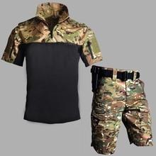 Camouflage Short Sleeve Combat Uniform Set Army Fan CS Tactical Shirt Shorts Suits Summer Men Outdoor Training Military Clothes