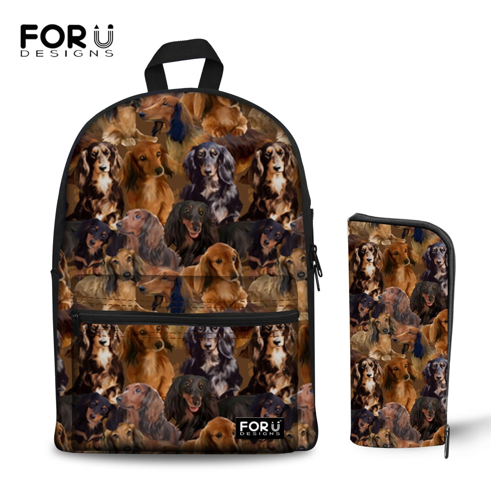 FORUDESIGNS Sac à Dos scolaire pour adolescente à cheveux longs chiens de zizi impression de nouveaux sacs dordinateur portable Sac féminin un Sac à Dos sacs de chien mignon