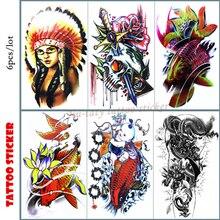 Nu-TATY Koi dragon tatouage temporaire Art corporel, 12*20cm autocollants de tatouage Flash, faux tatouage imperméable henné
