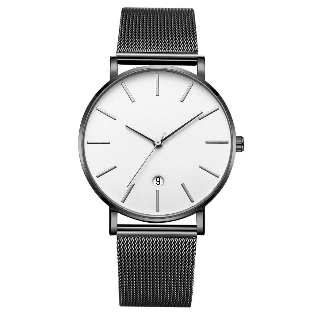 Reloj para hombre de marca Simple de moda GAIETY, calendario de negocios, correa de malla, hebilla de Pin, reloj de pulsera de cuarzo, reloj masculino