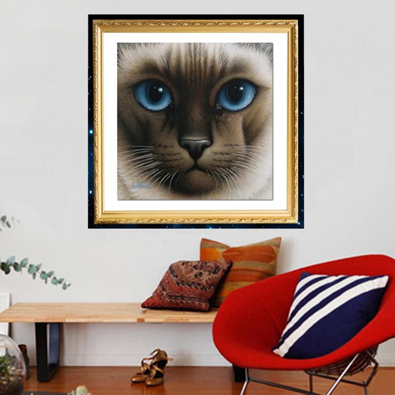 2015 pintura de diamante Diy hecho a mano punto de cruz bordado de diamante Ojo Azul gato diamantes de imitación cuadrado completo diamante sin terminar