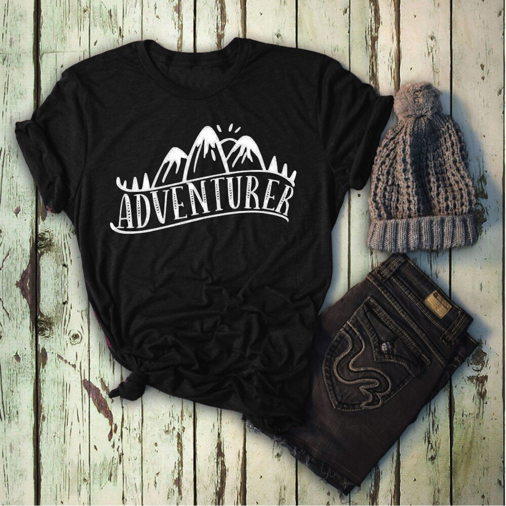 Camiseta de aventurero Camping senderismo viajes Wanderlust Explorer gráfico mujeres moda grunge tumblr estético eslogan cita tee tops