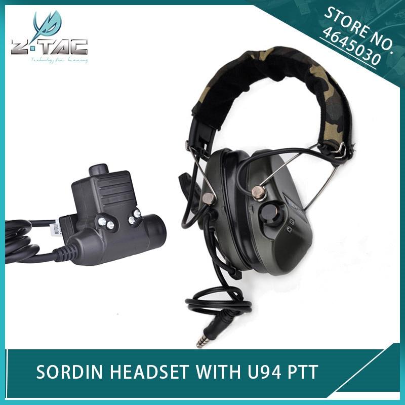 Z тактический страйкбол элемент шумоподавление Гарнитура Sordin Softair авиационные наушники и U94 PTT для Kenwod Midland Military