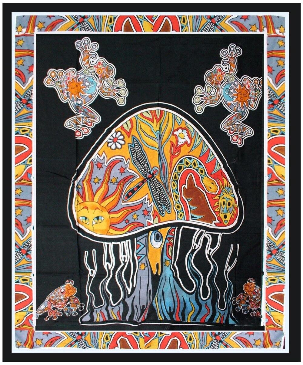 Cammitever vermelho sun totem sapo psychedelic cogumelo noite árvore indiano mandala tapeçaria de suspensão de parede para casa colcha arte tapete