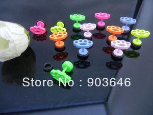 60pcs Free Shippment  Body Jewelry- Crown Candy Color Ear Stud Fake Ear Plug Cheat Illusion Plugs