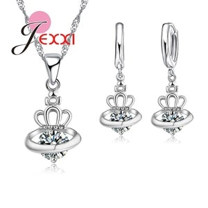 Shiny Crystal Crown Necklace + Earring Jewelry Set New Fashion Silver Exquisite Design Women Wedding Bridal Romantic Gifts