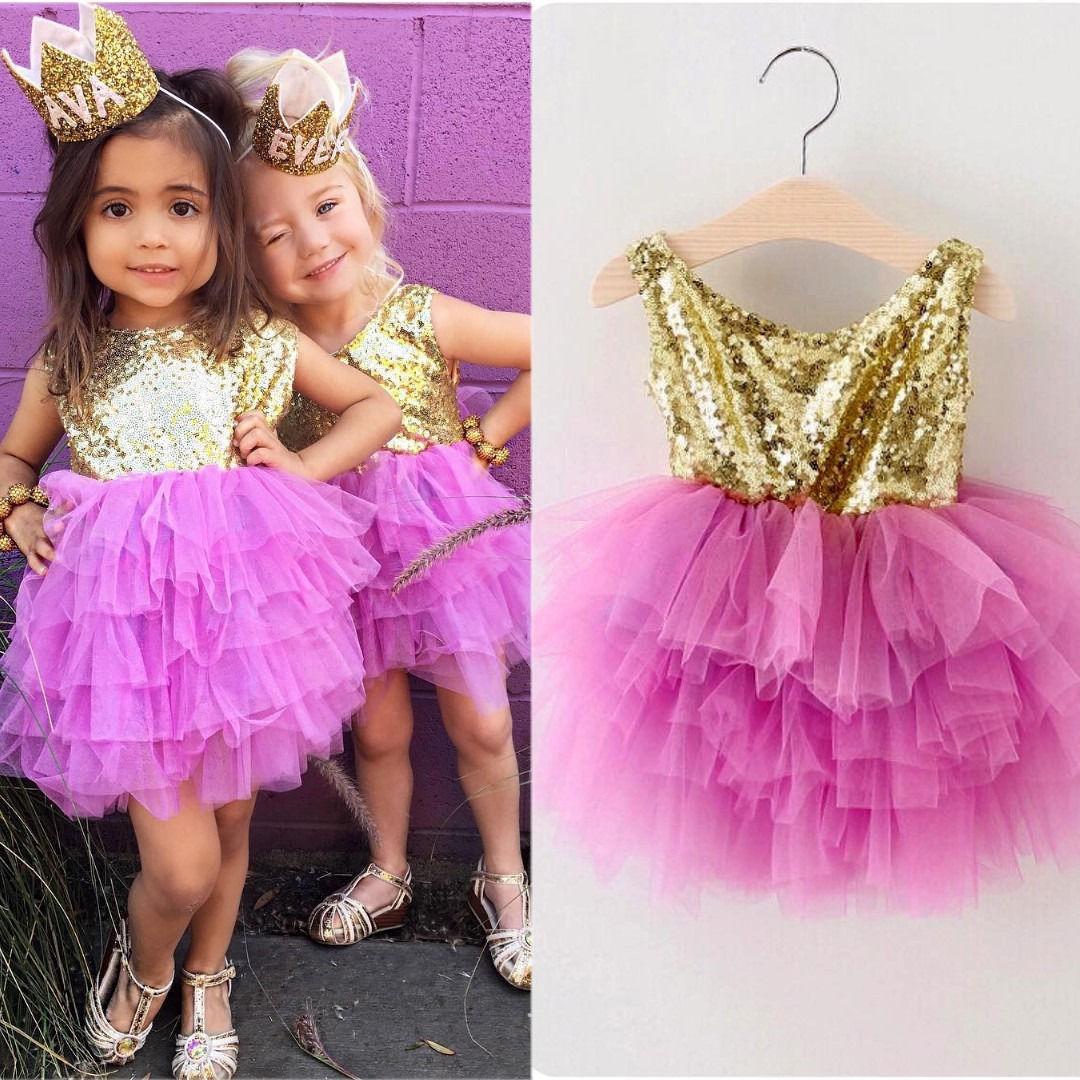 Pailletten Kleinkind Kleinkind Kinder Mädchen Prinzessin Kleider Rüschen Formal Pageant Überlagerte Tulle Kleid 2-7Y
