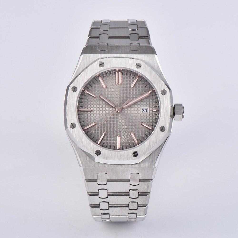 Reloj reloj 41mm automático gris dial zafiro cristal Acero inoxidable Correa movimiento hombres PS-19