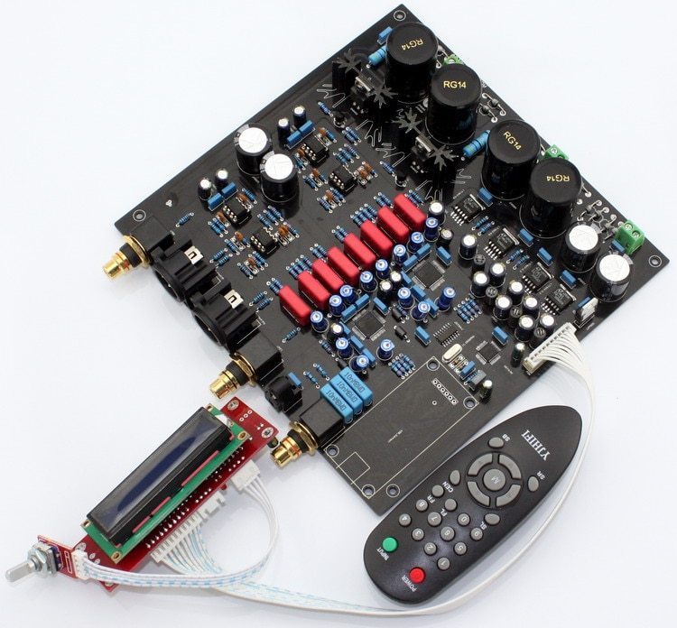 AK4497EQ * 2 + AK4118 carte de décodeur DAC à contrôle souple avec écran LCD/télécommande (pas de puce AK4497 et carte fille U8)