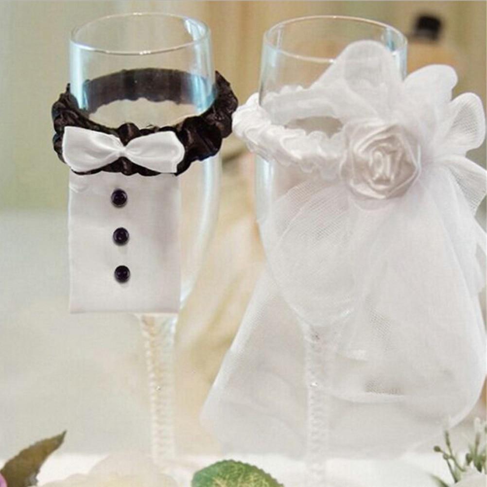 1Set Fashion Handmade Bride Bridegroom Wine Glass Cover Champagne Bottle Bride Groom Costume Goblet Covers Wedding Party Decor