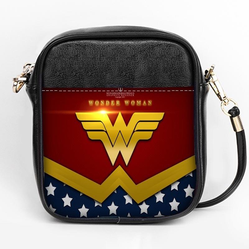 Nueva moda, bolso con logo de wonder woman, bandolera personalizada para mujer, minibolso de cuero para chicas, bolso de fiesta DIY, bolso con correa