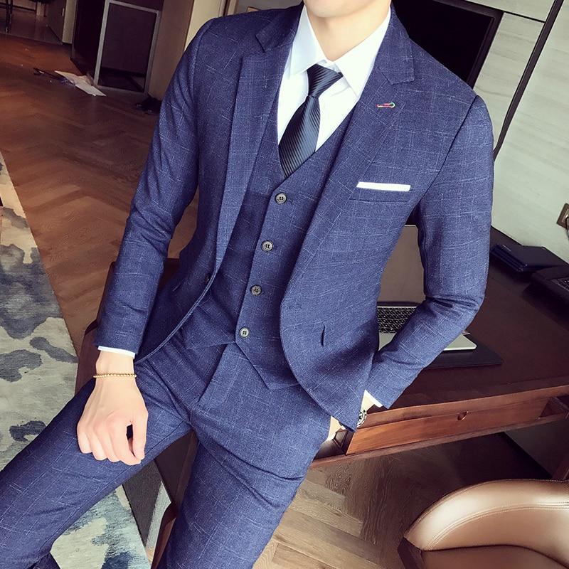 2018 nueva marca de hombres de negocios conjuntos de trajes de boda Vestido de tres piezas traje Blazers pantalones de abrigo (chaqueta + pantalón + chaleco)