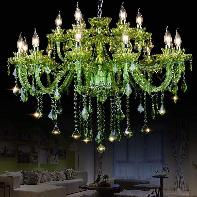 Lámpara De araña De Cristal verde K9 De gran calidad, lámpara De araña De Cristal brillante, luces De araña De Cristal LED, lámpara verde De Villa