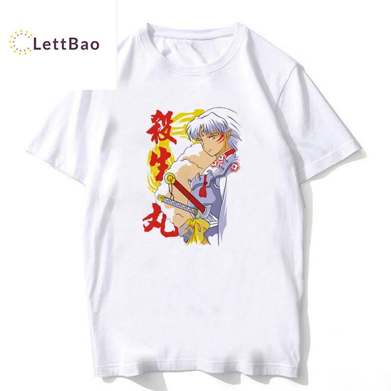 Inuyasha, Camiseta clásica de Anime Sesshomaru para adultos, camiseta blanca de algodón con estampado de dibujos animados para hombres, camiseta Unisex nueva de moda para hombre