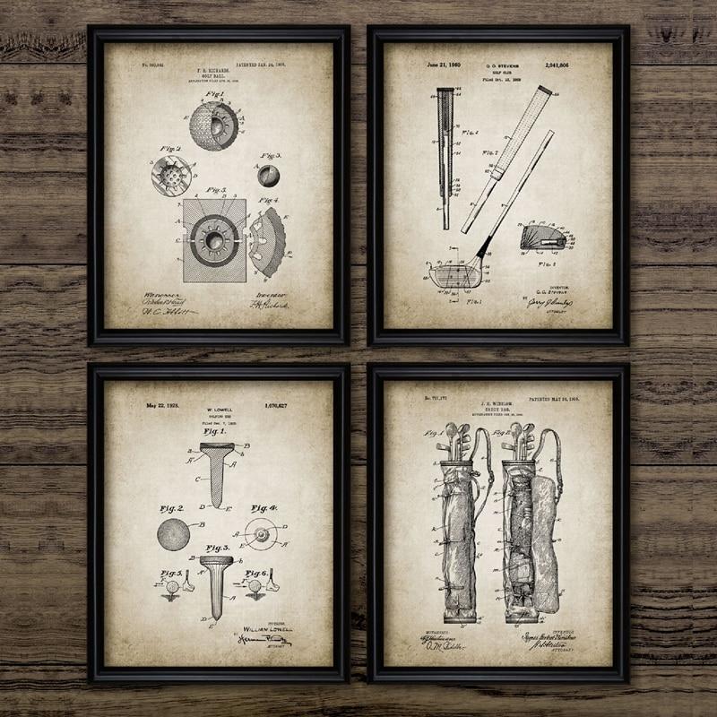 Estampado y pósteres Vintage de patente de Golf, lienzo mancavo con estampado de Blueprint de Golf, cuadros de pared, decoración de pared de habitación de casa